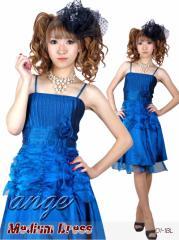 MD1211-001/キャバドレス/胸元プリーツウエストギャザー入り パーティー ミディアムドレス