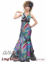 LD1210-204/キャバドレス/サテンマーメイドレインボープリントドレス