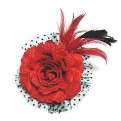 DCX061 レッド 浴衣・結婚式・花・入園式・卒園式・パーティー・二次会・髪飾り・羽付コサージュ・クリップ2WAYタイプ