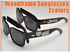 和柄サングラス メンズ おしゃれかっこいい 大人カジュアル 安い ウッドフレーム 龍家紋 眼鏡