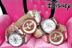 7割引 (新商品) Disney ディズニー グリッター ミッキー シルエット 腕時計 本牛革ベルト スワロフスキー使用 (全4色)