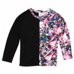 ボタンL/S Tシャツ(原宿・竹下っ仔の必須アイテム)(キッズ ダンス ウェア 衣装 ヒップホップ)