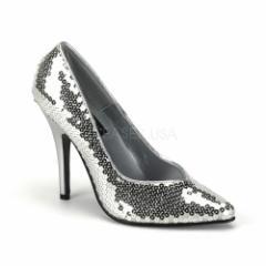 取寄せ靴 キラキラ 美脚パンプス 激安 12.5cmハイヒール 銀スパンコール プリーザー