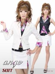 S1210-504/キャバスーツ/ベストプリントシャツ付きスーツ