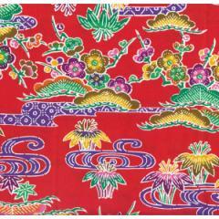 紅型柄 プリント生地 赤 巾114cm×長100cm