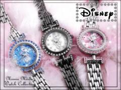 (高級腕時計) Disney ミニー スワロフスキー ジェルミニー腕時計 コスメBOX入り ミニー腕時計 ジュエリーウォッチ 全3種