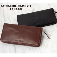 【ポイント10倍/送料無料】 KATHARINE HAMNETT [キャサリンハムネット] グレンチェック ラウンドファスナー 長財布 490-54005