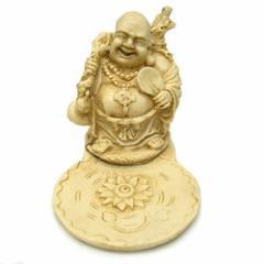 布袋様のお香たて 立像 皿つき アンティークゴールド お香立て バリ雑貨 アジア雑貨 アジアン雑貨