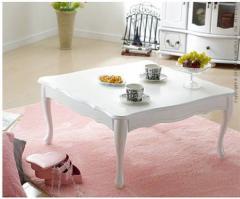 折れ脚式猫脚がキュートなテーブル ☆75×75cmLisana〔リサナ〕 ☆置くだけでお部屋がヨーロピアンクラシックの雰囲気!