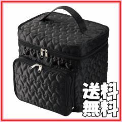 送料無料◆キルト コスメBOX ハート柄 メイクボックス (メイク道具入れ/ミラー付) ブラック レッド 黒 赤 【ファッション】 【美容】