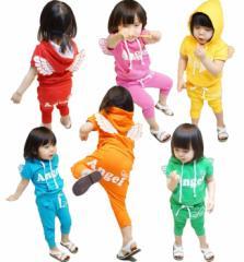 韓国子供服【新作】天使の羽♪エンジェルウイング半袖6カラーセットアップジャージ90cm〜130cm
