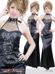 LD1307-001/キャバドレス/サテンホルター 胸元ビジュタイト ロングドレス