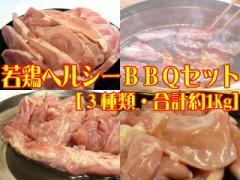 九州産▲若鶏ヘルシーBBQセット[合計約1Kg]☆焼肉でスタミナUP!【送料無料*一部地域を除く】