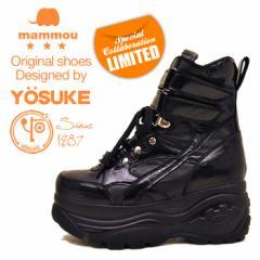 【即納】 厚底スニーカー  厚底ブーツ  ハイカット レディース プラットフォーム スニーカー 黒 YOSUKE ヨースケ×mommou