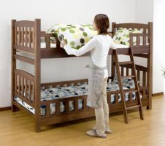 送料無料!ロータイプ2段ベッド コンパクト 分割式 木製ベッド 天然木パイン カントリー調 SA706