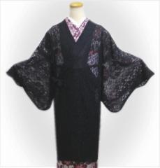 和装着物の春夏秋必需品 小粋なラッセルレース道中着コート黒(ロング)