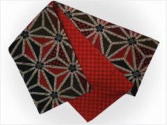 振袖成人式&着物に お仕立上がり全通袋帯赤黒地麻の葉