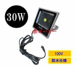LED投光器30W・300W相当・防水・広角120°・AC100V・5Mコード 薄型 白色