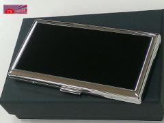 【真鍮製・たばこケース6本専用】かさばらない薄いタイプ/ロングサイズ対応/上品なブラックパネル