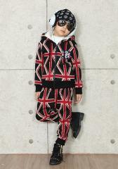 【送料無料】【限定販売】あったかボア♪韓国子供服LOVE BANKサルエルユニオンジャックジップパーカーセットアップ95cm〜150cm