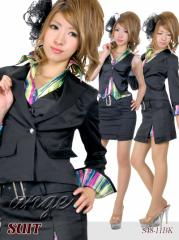 S1307-037/キャバスーツ/レインボーストライププリントベストシャツ付きスーツ