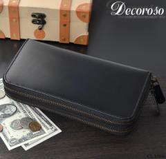 ★送料無料★ 長財布 メンズ 馬革 多収納 ダブルラウンドファスナー財布 Decoroso デコローゾ 【CL-1666】