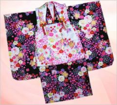 七五三着物3歳女の子被布セット(8点)黒&白桜古典花雪輪