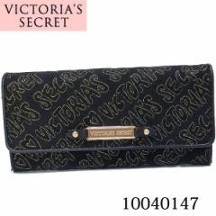 ヴィクトリアシークレット財布/VICTORIAS SECRET キャンバスロゴステッチ 長財布 ブラック 10040147