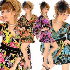 【キャバ・ドレス】ちりめん☆和柄着物ドレス