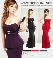 【4サイズ】ベアトップペプラム×マーメイドスカート 2Pロングドレス キャバ お呼ばれ XLサイズ 大きいサイズ