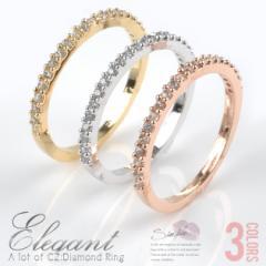 『周囲を魅了する♪たっぷりキュービックジルコニア!!!シンプルデザインリング』レディース ネックレス ピアス 指輪