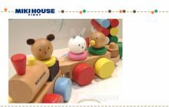 【即日お届け】mikihouse★ミキハウス【箱付】多機能★木製の知育おもちゃ♪/どうぶつ/汽車でコロコロ★プルトーイ/プレゼント/ギフト