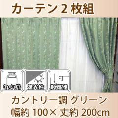 カーテン チロル カントリー調 グリーン 100×200cm 2枚組