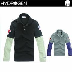 【ハイドロゲン】 HYDROGEN 大人気!! メンズ 長袖 ポロシャツ 重ね着風 アメリカフラグ Washington 7604