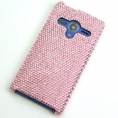 AQUOS PHONE Xx 203SH   ケース スワロフスキーカバー (全貼り ss12ベース)【ライトローズ】送料無料