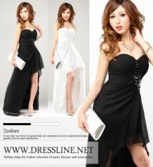 スパンコール装飾×シフォンテールカット マレットドレス
