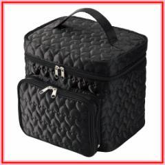 キルト コスメBOX ハート柄 メイクボックス (メイク道具入れ/ミラー付/ポーチ) 鏡 ブラック レッド 黒 赤 【ファッション】 【美容】