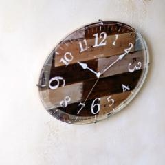 おしゃれな掛け時計 リディア−ヴント インターフォルム CL-8409 / 壁掛け時計 / アンティーク / 木目 / 楕円