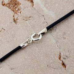 革紐1.5mm 丸牛革ネックレス(ブラック)留具:シルバー925