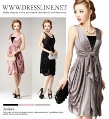 【4サイズ】ウエストリボン トリコットコクーン ワンピースドレス 結婚式 お呼ばれ XLサイズ 大きいサイズ