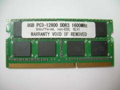 SODIMM 8GB PC3-12800 DDR3 1600 204pin CL11 PCメモリー