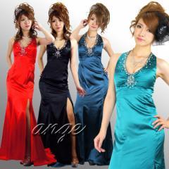 LD1206-404/キャバドレス/エレガントで艶やか豪華サテン 胸元ビジュ ホルターネック ロングドレス