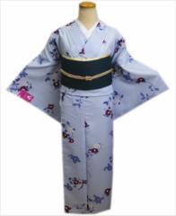 洗える着物(小紋)と軽装帯(付け帯)セット薄ブルー地椿枝M・L
