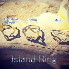 ハワイ人気ブランド!楽園を感じて・・ハワイ オアフ マウイ アイランドリング 14KG