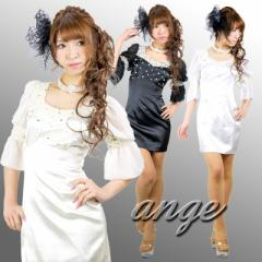 SD1209-303/キャバドレス/シフォンスリーブ胸元ビジュタイトミニドレス