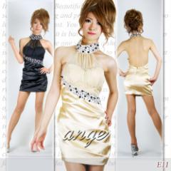 SD1205-110/キャバドレス/首止め胸元シフォンビジュミニドレス