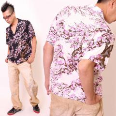 花旅楽団SCRIPT[桜尽くし]和柄 半袖 レーヨンアロハシャツ(SS-411)【送料無料】半袖シャツ メンズ はなたび 通販