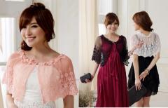 ★新作★結婚式 パーティー ドレス 透明感 花柄レース ボレロ カーディガン ケープ