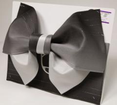 日本製 グラデーション リバーシブル ラメ入り 浴衣帯 作り帯 ブラック×グレー