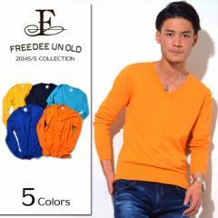SALE FREEDEE UN OLD【フリーディー】綿シルク Vネック ニット /全5色(ブルー/ライトブルー/ネイビー/イエロー/オレンジ) メンズ